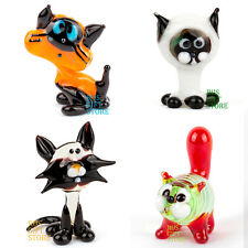 Cat Glass Blow art Figurines Various shape Handmade Russia