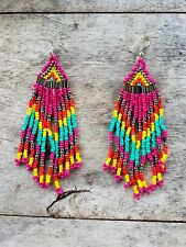 COLOURFUL  LIGHT INDIAN TRIBAL BOHO RODEO BEADED FRINGE TASSLE TASSEL EARRINGS