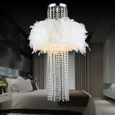 "22"" White Feather Crystal Bedroom Ceiling Pendant Light Lamp Lighting Droplights"