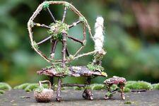 Fairy Spinning Wheel - Fairy House, Fairy Garden, Miniature Wheel, Twig, Rustic
