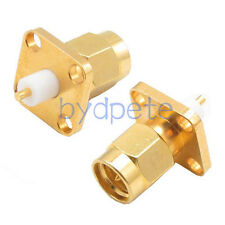SMA male plug 4 hole Chassis panel Mount extended dielectric solder connector