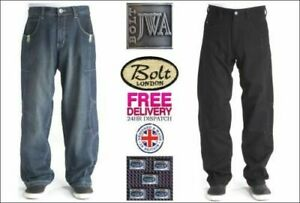 Bleubolt Mens Denim Skater Baggy Loose Fit Trousers Jeans Streetwear Style 7005