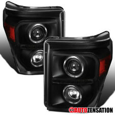 11-16 Ford F250/350/450/550 Super Duty LED Black Projector Headlights Pair