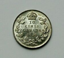 1929 CANADA George V Silver Coin - 10 Cents - AU+ toned-lustre - rim nicks
