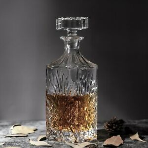 Crystal Whiskey Decanter, 28oz/750ml, Diamond, with Glass Stopper