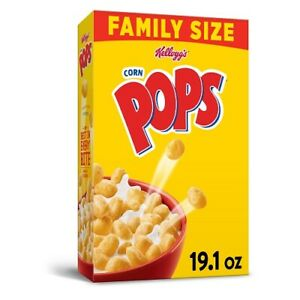 (10 Boxes)  Kellogg's Corn Pops, Breakfast Cereal, Original, Family Size 19.1 Oz