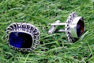 "Handmade 925 Sterling Silver Tourmaline Gemstone Jewelry Cuff Links Size-1"""