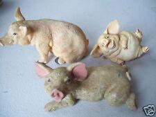 "Lot 3 Pig Swine Farm Animal Figurine 4.5"" Long"