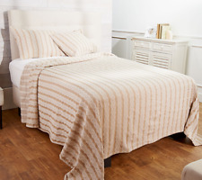 Cable Knit Jacquard Bedspread with Two Shams, Full, Taupe