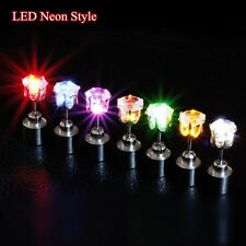 9 Pair Unisex LED Glowing Bling Light Up LED Ear Studs Earrings Dance Party Xmas