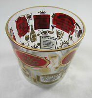 Vintage Mid Century Glass Ice Bucket Red & Gold with Drink Recipes
