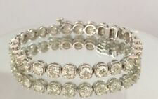 14.00ct ROUND CUT DIAMOND TENNIS BRACELET 14K WHITE GOLD D SI2 CERTIFIED