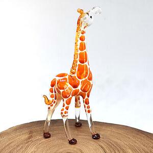 Blown Glass Giraffe Statue Safari Figurine Handmade African Decor Sculpture