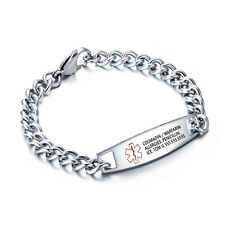 Personalized Medical Titanium Steel Bracelet Emergency Medical Alert ID Bracelet