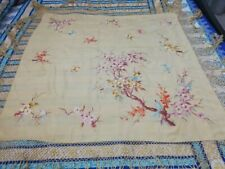 Antique Chinese Hand Embroidery Piano Shawl 117 By 117+ Fringe38 Cm tow stains
