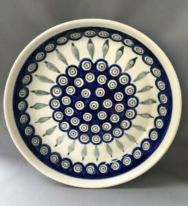 Polish Pottery Bolslawiec Large Round Flat Dish High Sided Plate Unused Peacock