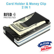 Men Carbon Fiber Slim Credit Card Holder Blocking Money Clip Metal RFID Wallet