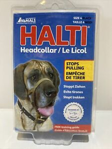 Halti Headcollar for Dogs Black Size 4 with Training Guide- Stop Pulling