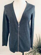 Michael Kors Women's Size Small Gray Long Sleeve Zip Front Angora Blend Sweater