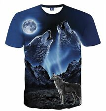 Wolf Moon 3D Print Fashion Womens Mens Casual T-Shirt Short Sleeve Graphic Tee