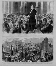 GREAT CHICAGO FIRE OF 1871 LAYING CORNER STONE REVEREND COLLYER PREACHING CHURCH