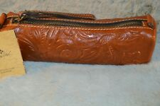 Patricia Nash Isla Oblong Tooled Leather Wristlet in Tan Florence Nwt