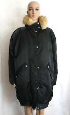 Nils Womens Black Vintage Winter Coat Insulated Parka Fur Lined Collar Large