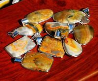 REVISE Pcs Lot Natural BUMBLE BEE Gemstone 925 Sterling Silver Pendants