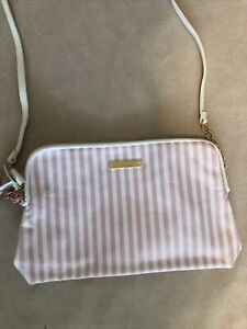Juicy Couture Pink White Stripe Crossbody Purse Shoulder Bag Sparkle Bow