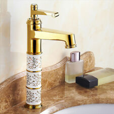 Gold Single Hole Bathroom Basin Sink Faucet Ceramic Vessel Tall Mixer Water Tap