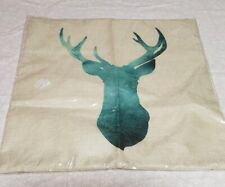 "New Deer Head Pillow Cover cream and green turquoise- antlers- buck 17x17"" zip"