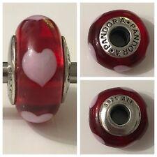 PANDORA RED GLASS HEART MURANO CHARM REF 790658 DISCONTINUED