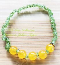 Natural Gem Crystal Peridot Chip Stone Yellow Topaz Beads Stretchy Bracelet Aug