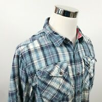 The North Face Mens Large Casual Outdoor Shirt Blue White Plaid Short Sleeves