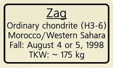 Meteorite label Zag