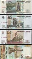 ✔ Russia 10 50 100 rubles 1997 100 rubles Crimea 2015 UNC Set 4 Pcs