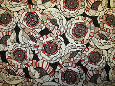 POPPIES FLORAL POPPY FLOWER RED WHITE TAN COTTON FABRIC FQ