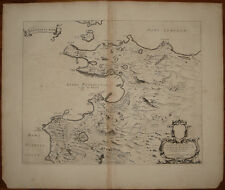 Stampa antica Golfo di Pozzuoli Mortier 1704 old print kupferstich Blaeu mappa