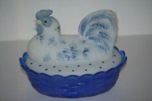 Fenton Hen On Nest Beautiful White & Cobalt Blue Glass - Oddity Piece