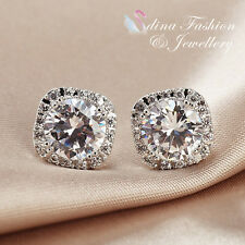 18K White Gold Plated Made With Swarovski Element 2.0 Ct Halo Stud Earrings