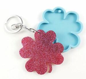 Silicone Clover Leaf Keyring Mould Mold Tool - DIY Valentine Keyring Epoxy