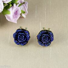 E6 Gold Plated Vintage Look Sparkly Resin Blue Rose Omega Back Stud Earrings