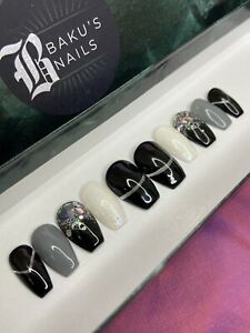 False Nails Hand Painted Press On Nails Short Black Grey And White With Glitter