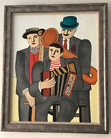 "Original Painting ""ENCORE"" Oil on Canvas FRAMED 35"" x 30"" (Art/Leger/Music/Miro)"