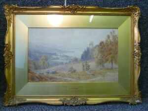 Framed Watercolour Painting Windermere From Ambleside by E H Marten