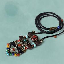 Pendant Gift Women Ethnic Sweater Wooden Necklace Tibetan Turquoise Jewelry