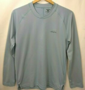 Patagonia Mens Graphic Tech Fly Fishing Tee T Shirt Size Small Long Sleeve Blue