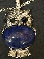 Owl Blue Lapis Lazul Gemstone Charm Only No Chain