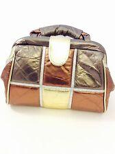 Vintage Copper Brown Gold Patchwork Purse Noble Handbags Inc. Genuine Leather