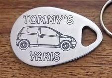 TOYOTA YARIS personalised  keyring 3 door 1999-05  ANY NAME engraved polished